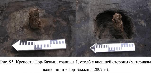 Крепость Пор-Бажын, траншея 1, столб с внешней стороны (материалыэкспедиции «Пор-Бажын», 2007 г.).