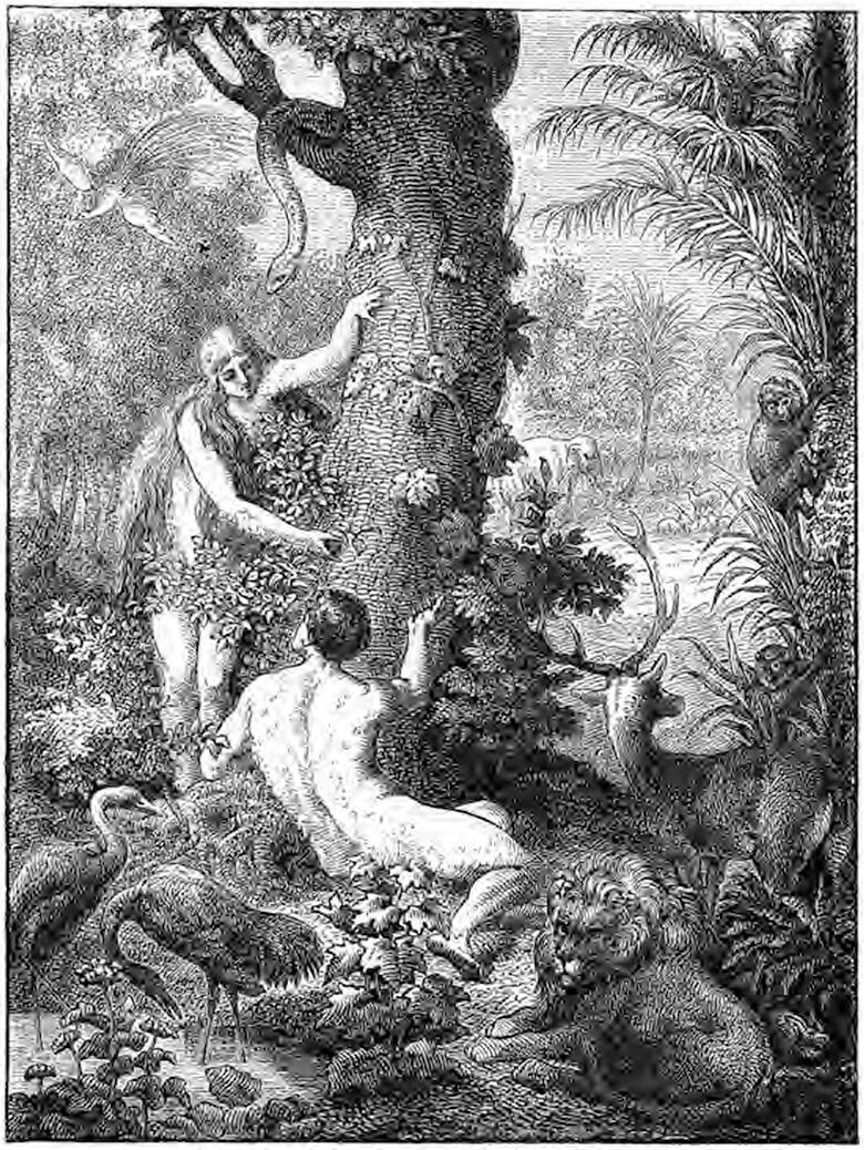 Адам и Ева под деревом познания добра и зла.Иллюстрация Чарльз Фостер.