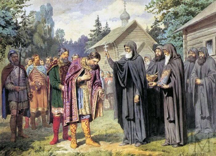 «Преподобный Сергий благословляет Д. Донского». А.Д. Кившенко