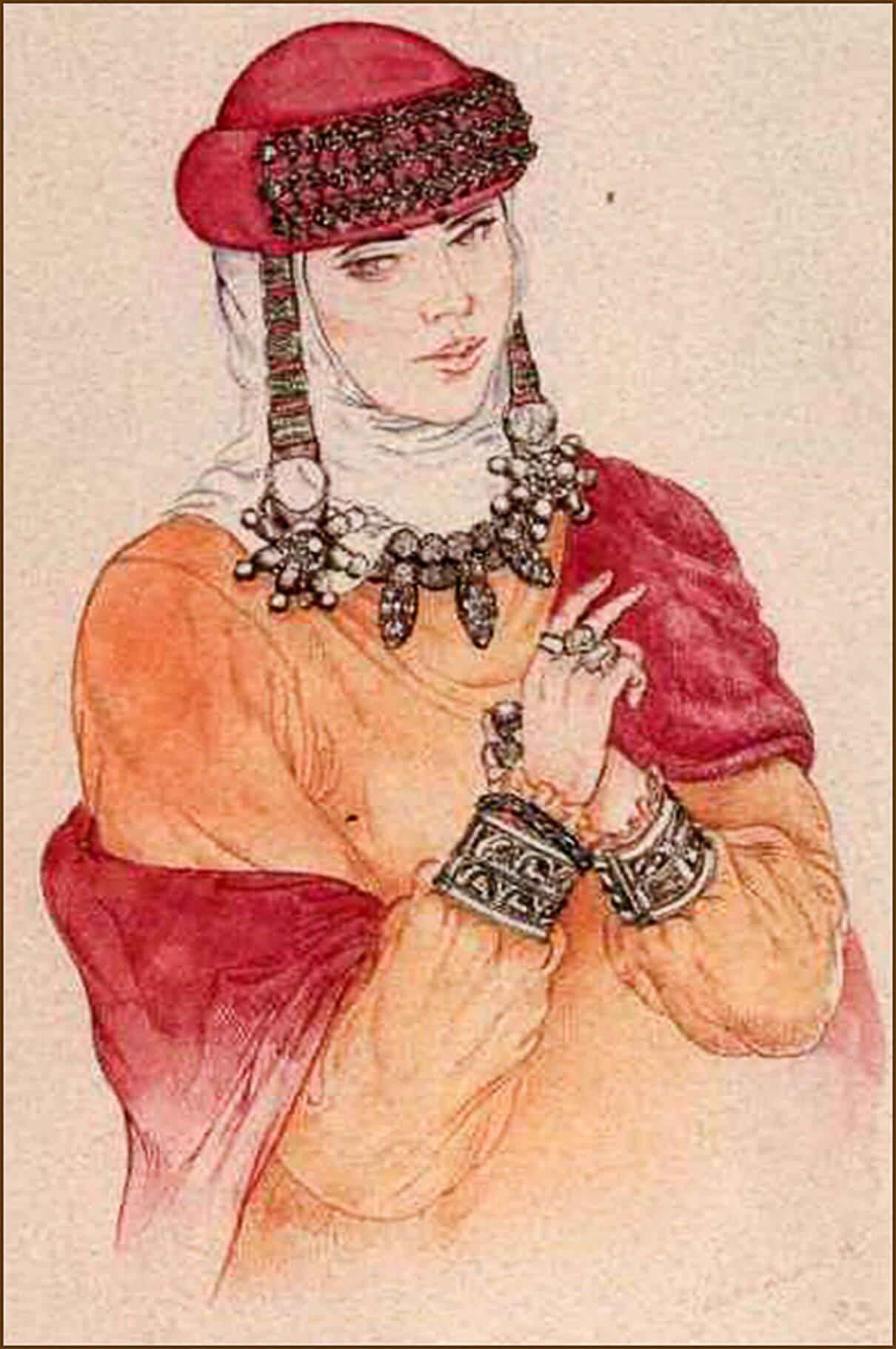 Так изобразил наш современник-реставратор знатную русскую женщину в парадном уборе. Все эти украшения были найдены в одном из старорязанских кладов