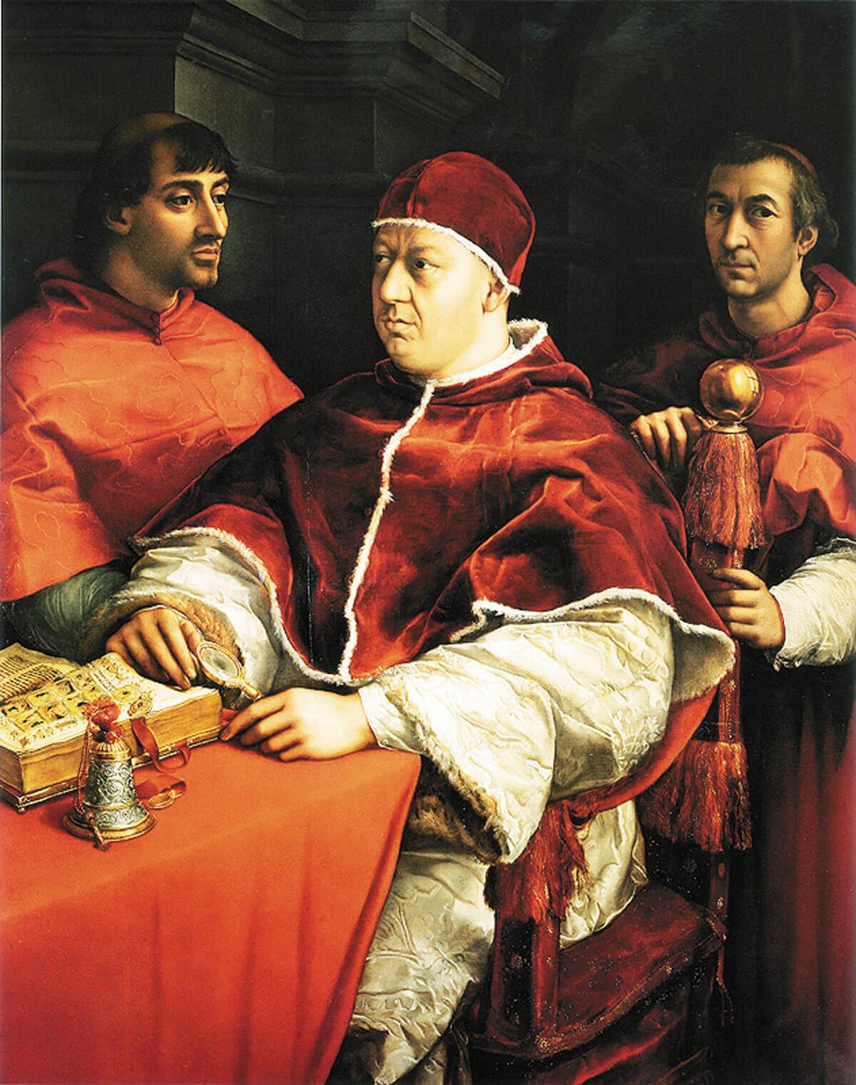Рафаэль. Портрет папы Льва Х с кардиналами Джулио Медичи и Луиджи Росси. Около 1518 года