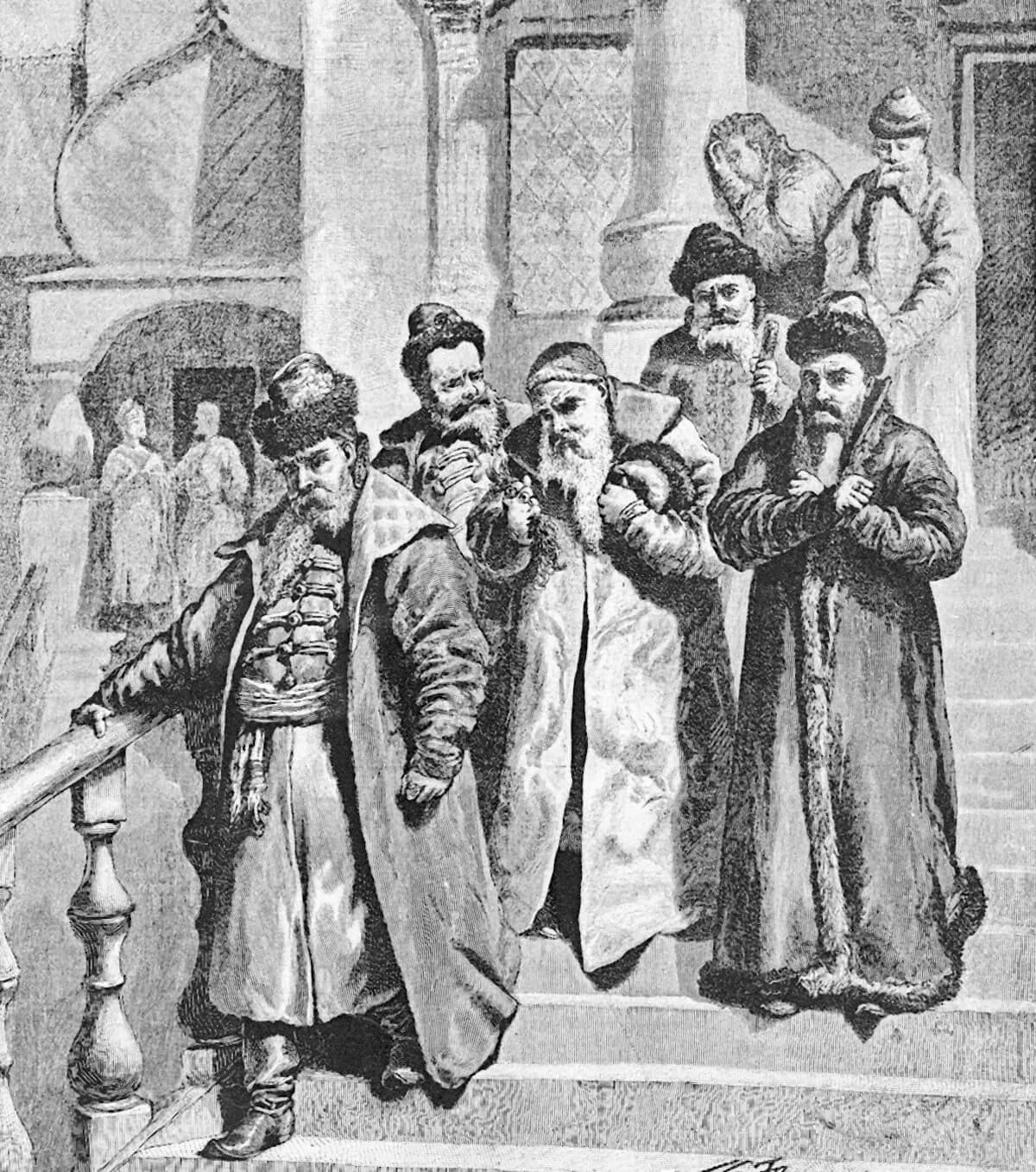Бояре возвращаются от царя Петра, остригшего им бороды. Гравюра. 1894 год