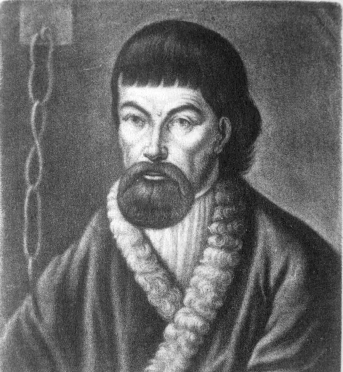 Портрет Пугачева, писанный с натуры. Надпись на портрете: