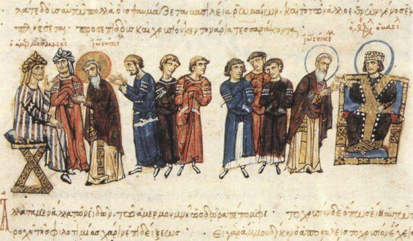 Обмен посольствами между императором Феофилом и халифом аль-Мамуном. Миниатюра мадридского списка хроники Иоанна Скилицы.