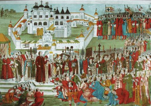 Делегация из Москвы в Ипатьевском монастыре приглашает на царство казацкого царя Михаила Романова