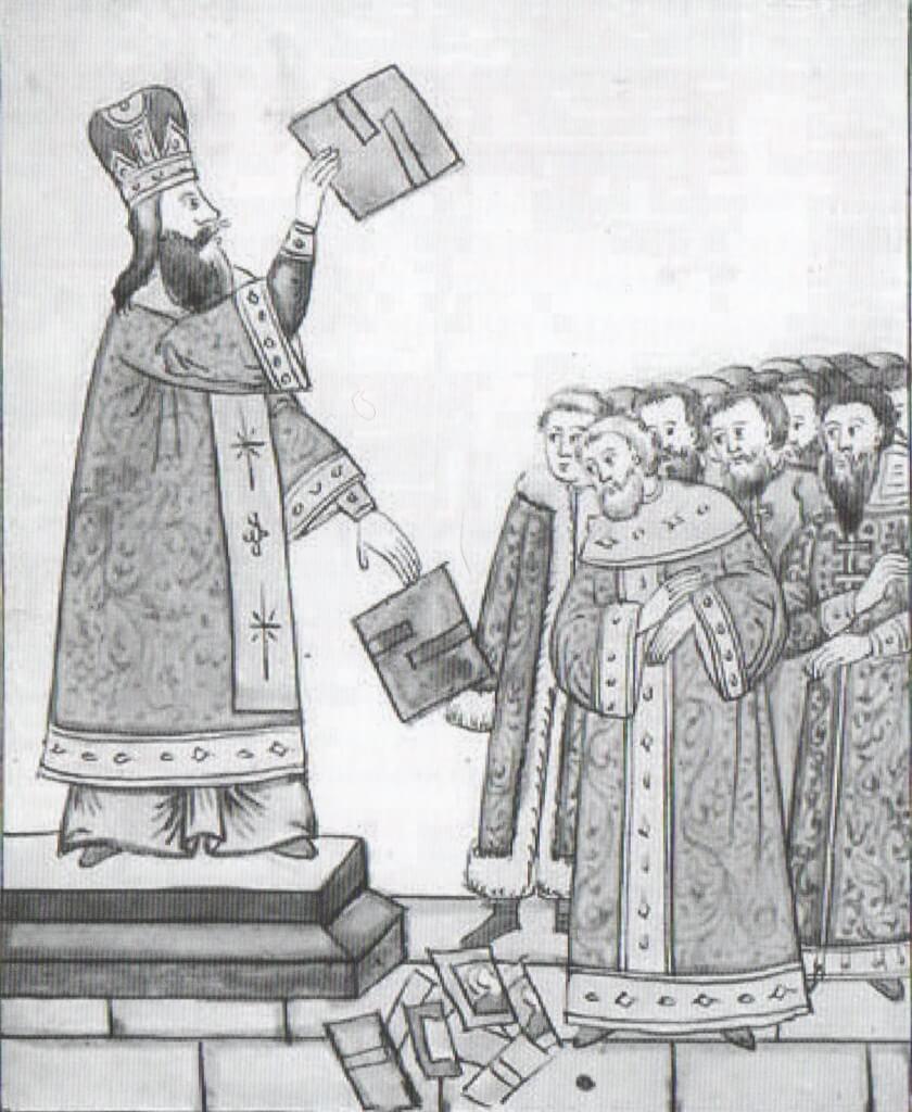 Патриарх Никон разбивает иконы о пол Успенского собора