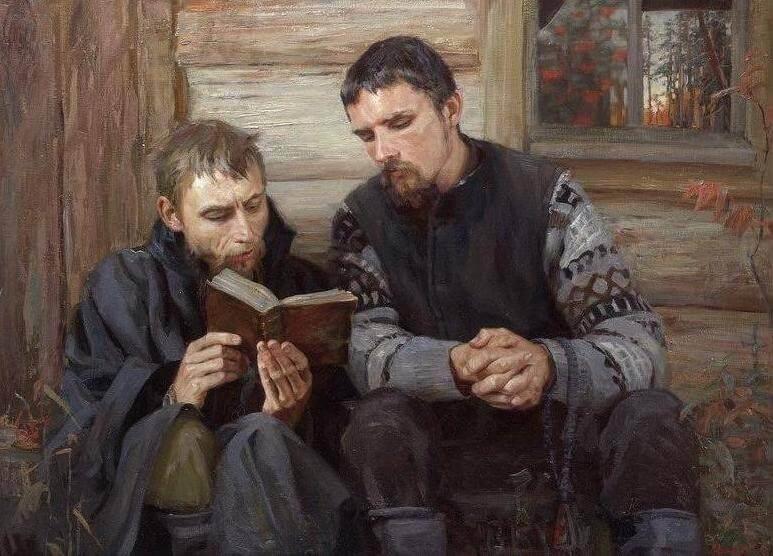 Т.С. Юшманова (р. 1979 г.), «Староверы», 2001 г. Кто такие? Два старообровера Дионисия Пересторонина и Даниила Григорьева, за пением.