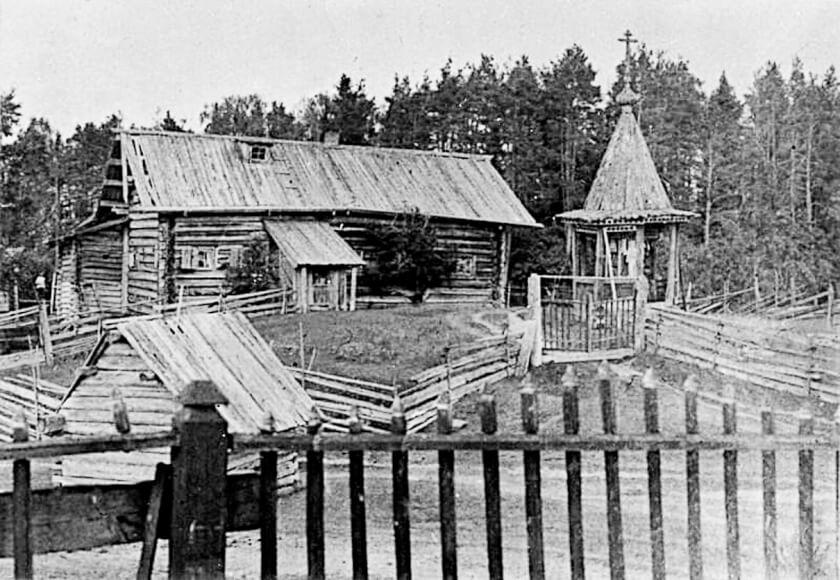 """Келья """"большакова"""" и """"Мертвая горка"""" (кладбище) на Выгу. Фото 1912 года"""