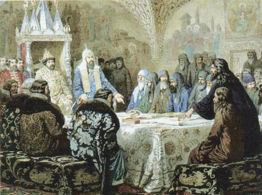 Патриарх Никон предлагает новые богослужебные книги. Неизвестный худ. XIX в.